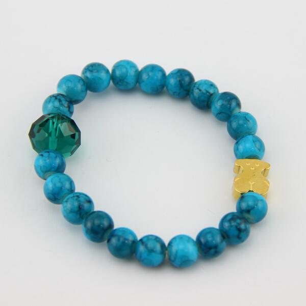 BB0033 2015 fashion simple beads bear bracelet,lovely bear titanium steel bracelet,women bear bracelet !(China (Mainland))
