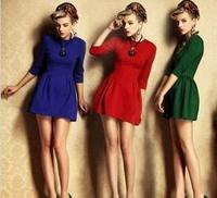 Hot Sale Women Dress 2015 New Brand Fashio Tights Work Wear Winter Dress Plus Size White Collar Casual Office Dresses Blue