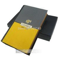 Cohiba Yellow Leather Cedar Wood Book Style Travel Cigar Humidor W/Cutter