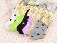 Free shipping!Hot Sale Perempuan Cute Cotton Socks lady coin dot Boat Socks women socks 6pairs/lot