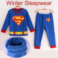 new 2014 winter warm thick spiderman costume pajamas for boys retail kids children sleepwear pijama pjs