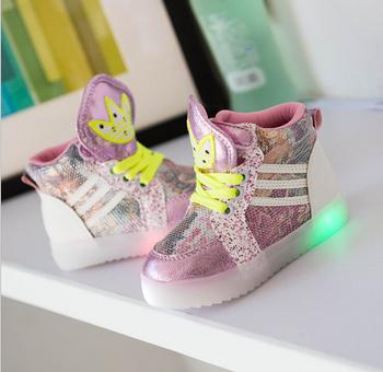 Из светодиодов освещенные светящиеся обувь для детей 2015 мода спортивная обувь мальчиков, девушки детская обувь высокого верха сапоги детские кроссовки BBX20