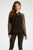FREE SHIPPING 2015 New Fashion Women Tie Neckline Lace Sleeves Chiffon Top NA25215 Sexy Ladies T-Shirt Clubwear Tops