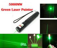 5000mw High Powered Burning Laser 301 Burning Matches , Green Laser Pointer Pen Set For 10000m , Lazer Presenter