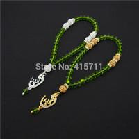 Green Crystal Rondelles  Islamic Muslim Prayer Beads Tasbih 33beads Allah Misbaha Sibha   L150113019