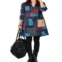 Women Spring Autumn V-Neck Long Sleeve Print Casual Patchwork Dress