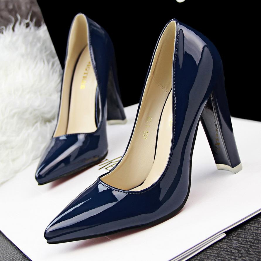 HOT! NEW! Plain Scrub Round Toe Thick Heel Women Pumps Comfortable ...
