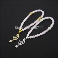 Pink Rondelles  Islamic Muslim Prayer Beads Tasbih 33beads Allah Misbaha Sibha   L150113021