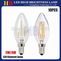 Free shipping 10pcs E14 BASE AC 220V LED filament Lamp 2W 4W Energy-saving Candle Lamp White/Warm white CE&ROHS 2 YEAR WARRANTY