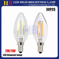 2015 New arrivals 30pcs E14 LED Candle Bulb 2W 4W AC 220V LED filament Lamp White/Warm white lamp Glass Cover By china post