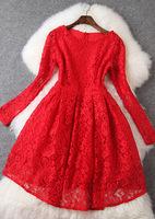 Free ship 2015 fashion lace puff princess dress formal long-sleeve cutout dress t2744 red casual dress wholesale va1835