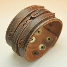 Hotselling Rock Genuine Leather Bracelets Punk Woman Men Brown Bracelet Free Shipping