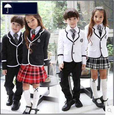 British korean japanese school uniform kids clothes uniforme escolar children girls and boys clothing jacket skirt 5 sets(China (Mainland))