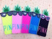 "2015 New 1 pcs secret pink 3D Glasses Pineapple Design Silicone Soft Case For iPhone 6 4.7""/PLUS"