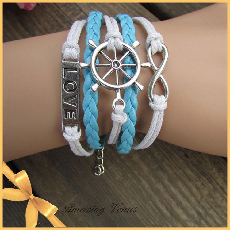 product Vintage Anchor Password Word Fashion Beautiful Romantic Elements Blue White Wax Flies Leather Bracelet Women&Men Adorn Article 8