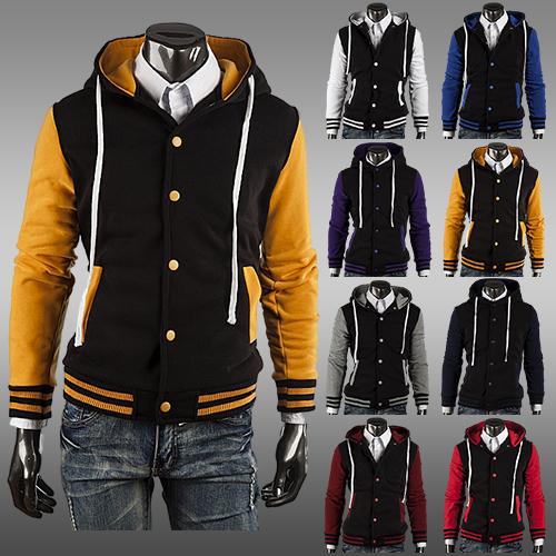 Fashion Mens Hooded Varsity Jacket College Baseball Cotton Slim Fit Varsity Hoodie Letterman Jacket With Hood 8 Colors AY419(China (Mainland))