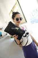 Fashion Patent Leather Women Clutch Purse Bow Lattice Women Messenger Shoulder Bag Casual Tote Envelope Purse