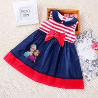 5pcs/lot wholesale sleeveless cartoon kids dress gril clothes ,striped bow dress children clothes