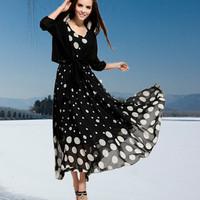 Europe women dress 2014 early autumn new Korean large code retro two piece set Chiffon Dress Suit