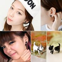Free shipping  1pc Girl Cute Cat Leopard Deer Earrings Ear Stud Jewelry Artificial Pearl Women WHS631