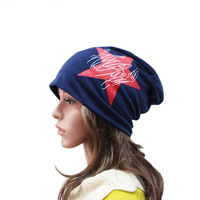 FUNNY Five-star BEANIE Unisex Print  Cotton  Beanies Hat  -4Colors  #A-43