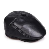 Quinquagenarian genuine leather hat male sheepskin forward cap built-in ear cap