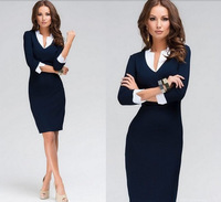 Hot !! Women Dress 2015 New Brand Fashion V-neck Tights Work Wear Winter Dress Plus Size White Collar Casual Office Dress Blue
