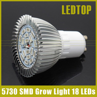 5730 GU10 18W Full Spectrum LED Grow Lights 12Red+6Blue Lamp for Flower Plant Cucumber Hydroponics Light AC 85-265V High Power