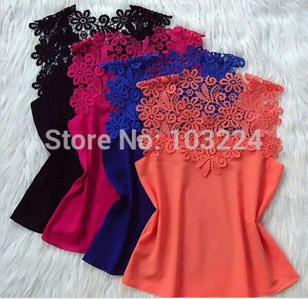XXL 2015 summer Fashion clothes for women lace Blouses Casual Shirt Chiffon Blouse Tops cropped blusas camisas roupas femininas(China (Mainland))
