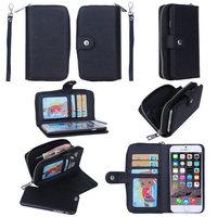 "Multifunctional Zipper Wrist Belt Buckle Card Money Wallet Leather Case Detachable Cover For iphone 5 5S 6 4.7"" 6 Plus Purse"