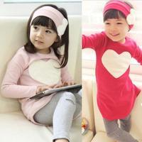 Toddler Girls Clothing Sets Baby Kids Heart Shirt Dress+Leggings+Headband Kids 3PCS Cotton Outfit 2--7Y Freeshipping