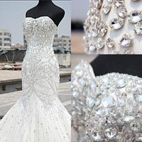2015 Luxury Crystal Wedding Dress Mermaid Sweetheart Floor Length Heavily Rhinestone Stunning Bridal Gown Custom made