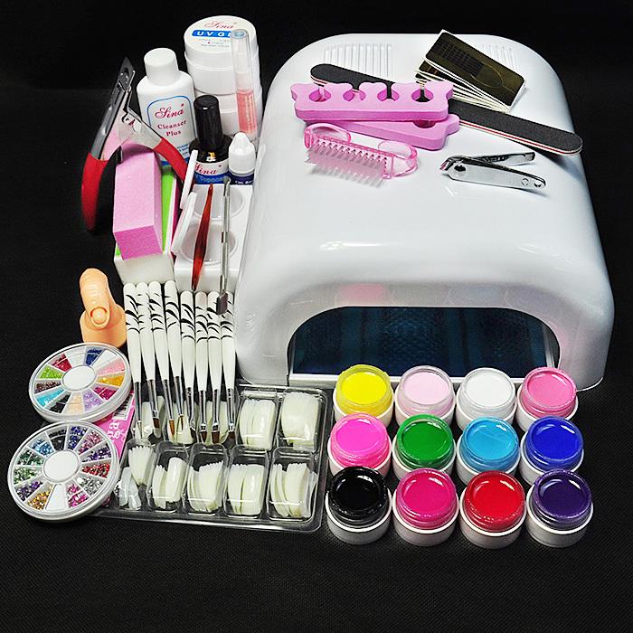 New UV GEL Pro 36W White Lamp & 12 Color UV Gel Nail Art Tools Sets Kits(China (Mainland))