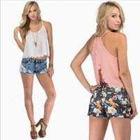 Free Shipping New 2015 Spring Summer Women Blouses Casual Shirts Scallop Cut Backless Chiffon Blouses Tank Tops