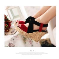 New 2015 gladiator sandals women summer high heels wedge shoes platform sandals sandalias femininas salto alto plus size  WN4002