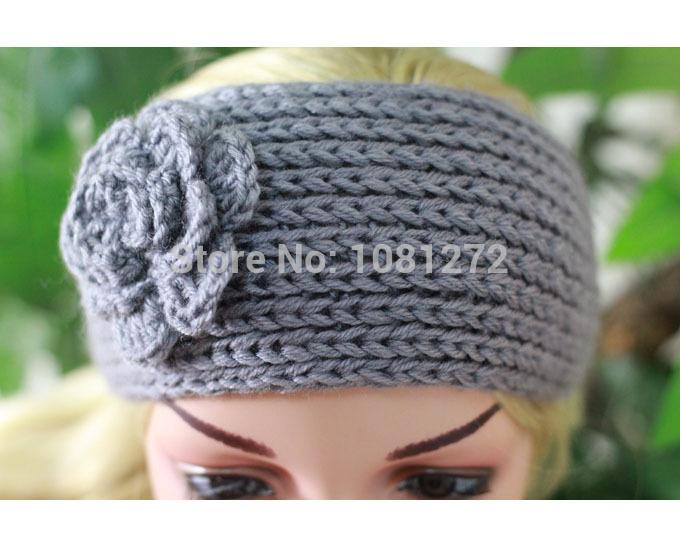 (20pieces/lot) Wholesale Big Flower gray Knit Headband, Turban Headband,Earwarmer,Hair Accessories,Head wrap,headband pattern,(China (Mainland))