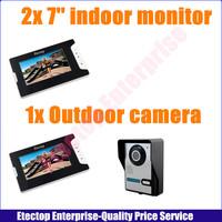 2x Indoor monitor+1x Outdoor night vision camera.7 Inch Video Door Phone Doorbell Intercom Kit