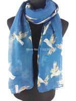 Flying Birds Print Women's Scarf Wrap Shawl Hijab Women's Accessories Gift, Free Shipping