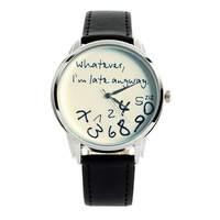 Whatever,I'm Late Anyway. 2014 New Fashion Funny Numbers Comment Women Men Dress Casual Analog Quartz PU Leather Wrist Watch