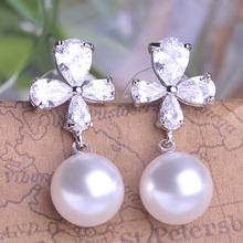 Luxurious Fine Wedding Jewelry Sets Very Beautiful Bridal Pearl Necklace Set Relogio Feminino CZ Diamond Large