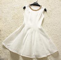 Europe Fashion Clothes Noble Quality Vintage Print Brief O-Neck Beading Dress white color sleeveless new women104