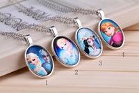 Frozen Time Gem Necklace European Style Girls Kids Children Retro Pendants Zinc Alloy Fashion Accessories Holiday Gifts