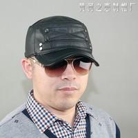Original design suede spring and autumn genuine leather hat casual rivet cadet cap