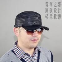 Original design quinquagenarian genuine leather hat male spring and autumn sheepskin cadet military cap hat
