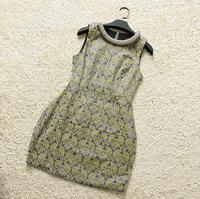 Europe Fashion Clothes Noble Quality Vintage Print  O-Neck Beading Lace  Dress sleeveless new women104