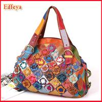 Ladies Shoulder Tote Bag Fashion 2015 New Bohemia 100% Genuine Leather Woman Bags Hobo Patchwork Floral Handbags