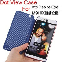 Offical Design DOT View Case For HTC Desire Eye M910X , Auto Sleep Wake Smart Soft Flip Cover TPU Skin