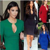Fashion autumn sexy V-neck metal buckle slim hip slim evening dress long-sleeve dress pencil skirt 1020