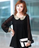 L- 6XL Plus Size 2015 new fashion women long sleeve chiffon shirt peter pan collar lantern sleeve women blouse tops ,B3043