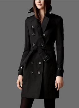 New 2014 Women Fashion double breasted leather buckle Trench Coat/High Quality Designer Elegant Trench khaki, black F320B016(China (Mainland))